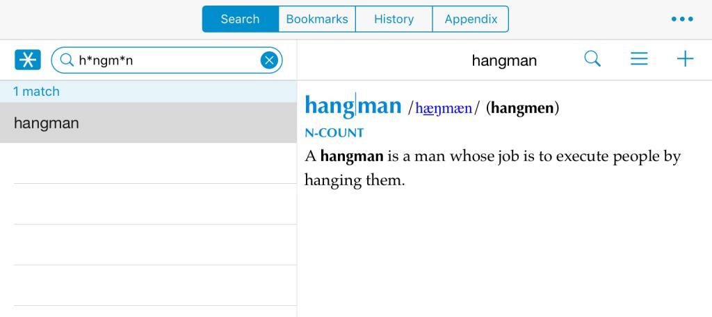 柯林斯词典高级搜索模式测试,测试内容为题图「hangman」单词
